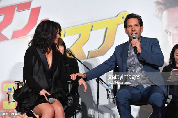 Actress Evangeline Lilly and Actor Paul Rudd attend the 'AntMan And The Wasp' premiere on August 21 2018 in Tokyo Japan