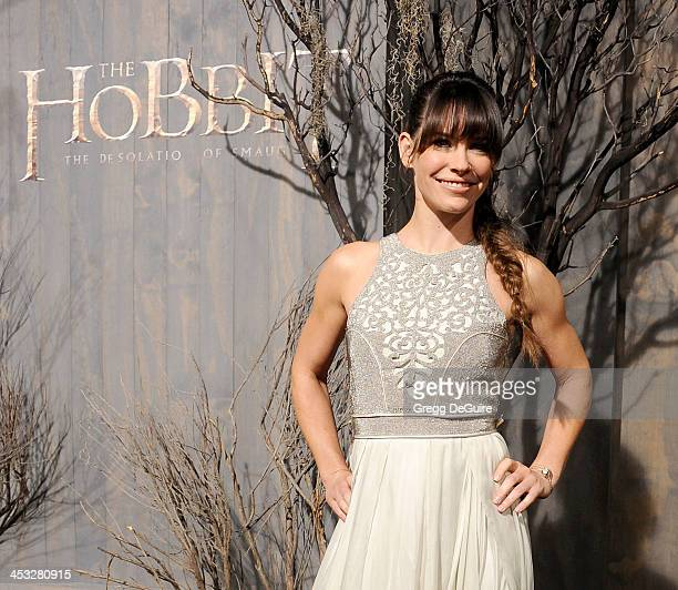 Actress Evangeline Lilly arrives at the Los Angeles premiere of 'The Hobbit The Desolation Of Smaug' at TCL Chinese Theatre on December 2 2013 in...