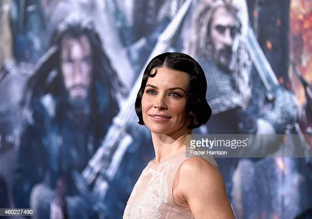 Actress Evangeline Lilly arrives at the Premiere Of New Line Cinema MGM Pictures and Warner Bros Pictures' The Hobbit The Battle Of The Five Armies...