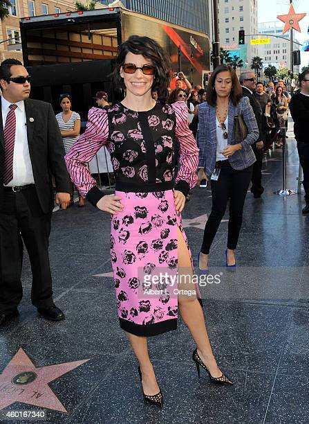 Actress Evangeline Lilly at The Hollywood Walk Of Fame Ceremony for Sir Peter Jackson held on December 8 2014 in Hollywood California