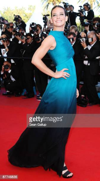 Actress Evangeline Lilly attends the Looking For Eric Premiere held at the Palais Des Festivals during the 62nd International Cannes Film Festival on...