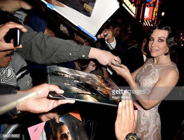 Actress Evangeline Lilly attends the premiere of New Line Cinema MGM Pictures and Warner Bros Pictures' The Hobbit The Battle of the Five Armies at...