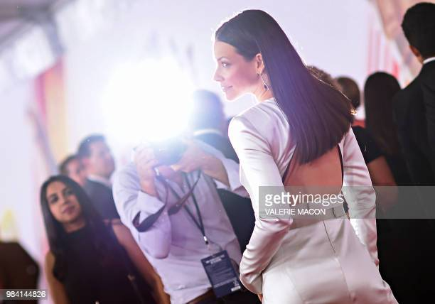 TOPSHOT US actress Evangeline Lilly attends the World Premiere of Marvel Studios' AntMan and The Wasp at the El Capitan Theater on June 25 in...