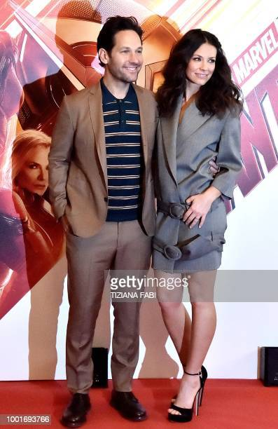 US actress Evangeline Lilly poses with US actor Paul Rudd during a photocall of the fim 'AntMan and The Wasp' in Rome on July 19 2018