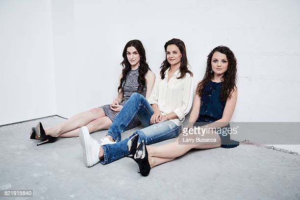 Actress Eve Lindley actress and director Katie Holmes and actress Stefania LaVie Owen from All We Had pose at the Tribeca Film Festival Getty Images...