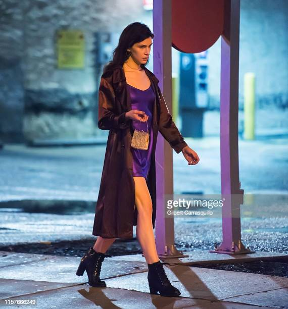 Actress Eve Lindley is seen filming on set of AMC's Dispatches from Elsewhere an upcoming American anthology television series created by and...
