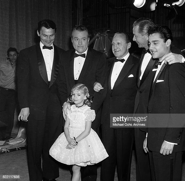 Actress Evelyn Rudie poses with Jack Palance, Red Skelton, Jack Benny, Robert Young and Sal Mineo during the Emmy Nominations in Los Angeles,CA.