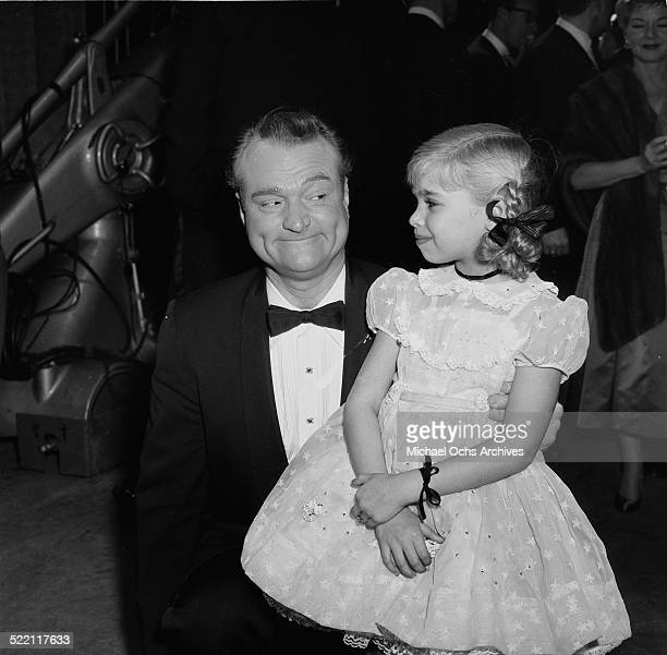 Actress Evelyn Rudie poses with Red Skelton during the Emmy Nominations in Los Angeles,CA.