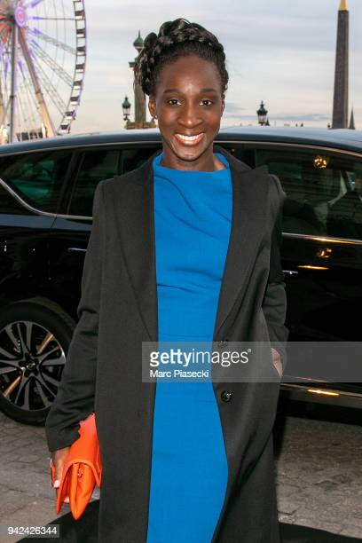 Actress Eye Haidara arrives to attend the 'Madame Figaro' dinner at Automobile Club de France on April 5 2018 in Paris France
