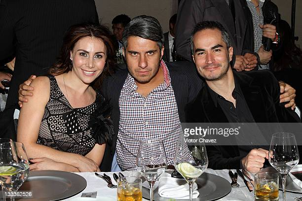 Actress Fabiana Perzabal actors Moises Arizmendi and Miguel Conde attend the 2011 GQ Mexico Men of the Year party at the Salon Arcos Bosques on...