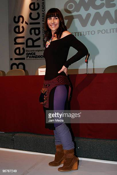 Actress Fabiana Perzabal during the press conference of the new Tv series named 'Bienes Raices' presebtation at IPN Television headquarters on...