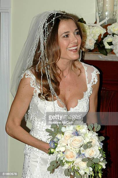 Actress Fabiana Udenio poses during her wedding Sunday evening December 19 2004 at her home in Malibu California Fabiana Udenio was wed to Robert F...