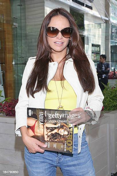Actress Fabiola Campomanes attends the Playboy Mexico magazine october 2013 Issue photo call At La Mansion Polanco restaurant on October 16 2013 in...