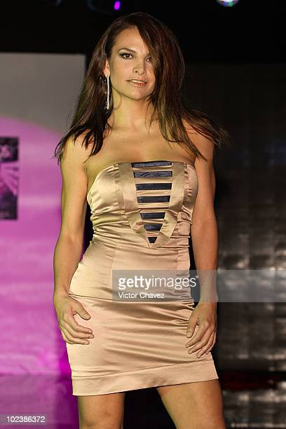 Actress Fabiola Campomanes walks the runway wearing Stivens Palacios Beautiful Glass 2010 collection at Casino Life on June 23 2010 in Mexico City...
