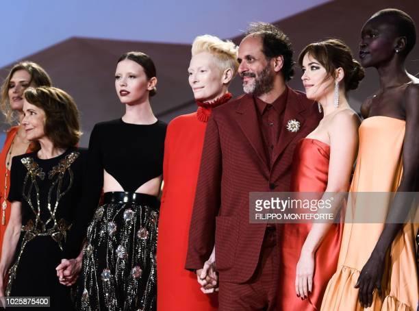 Actress Fabrizia Sacchi actress Jessica Harper actress Mia Goth actress Tilda Swinton director Luca Guadagnino actress Dakota Johnson and model Alek...