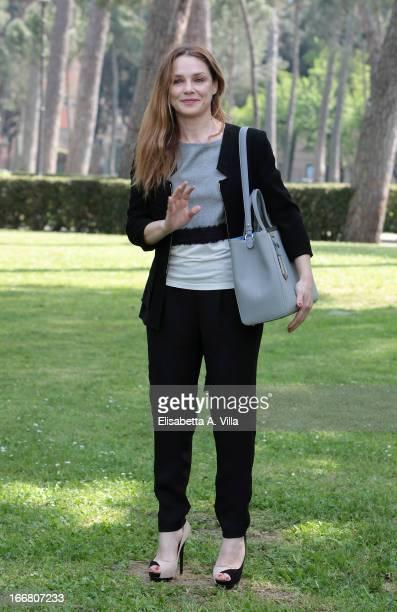 Actress Fabrizia Sacchi attends 'Viaggio Sola' photocall at Villa Borghese on April 17 2013 in Rome Italy