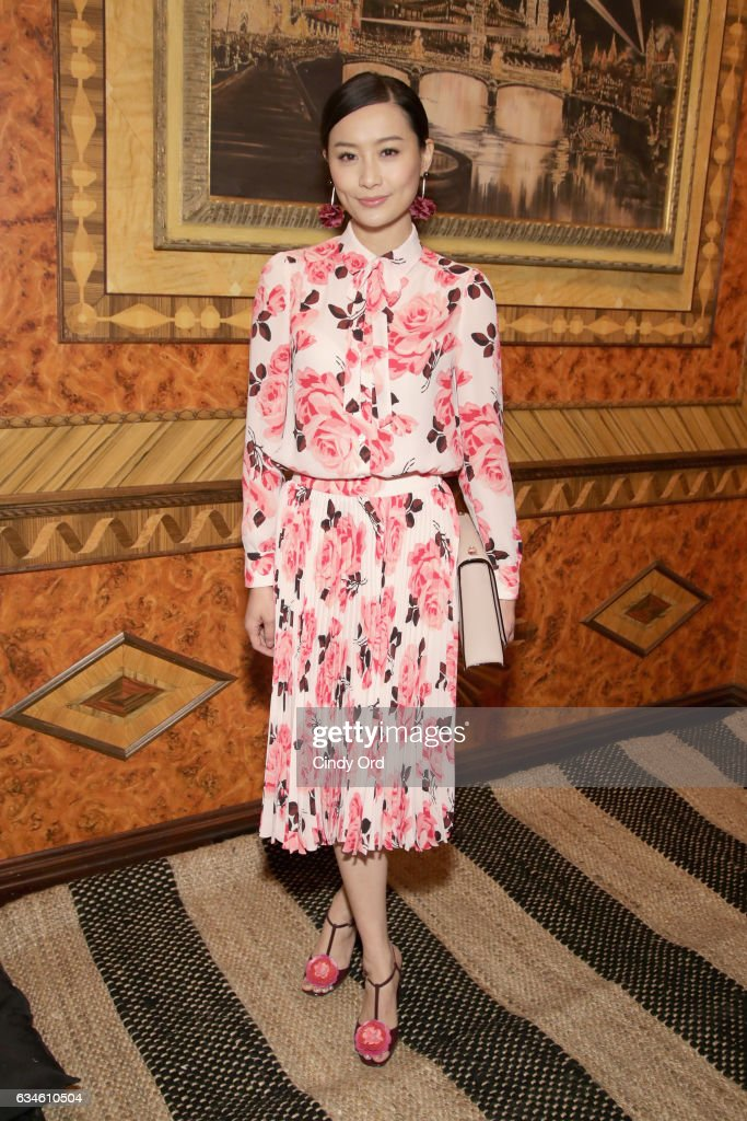Actress Fala Chen poses at kate spade new york Spring 2017 Fashion Presentation at Russian Tea Room on February 10, 2017 in New York City.