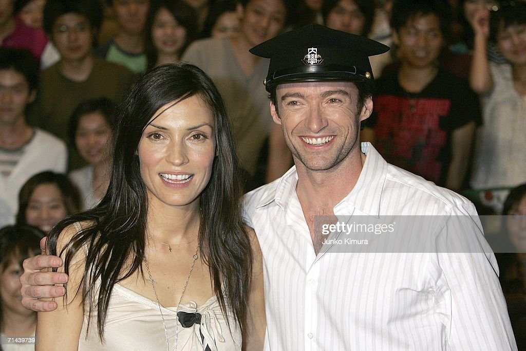 Actress Famke Janssen and Actor Hugh Jackman pose for photographers during the premiere of the movie 'X-Men: The Last Stand' at Waseda University on July 14, 2006 in Tokyo, Japan. The film will open in Japan in September.