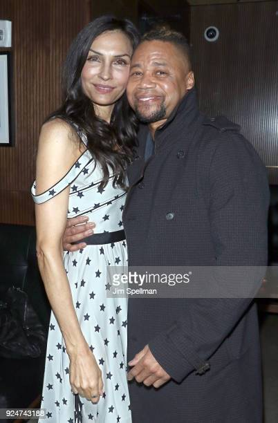 Actress Famke Janssen and director/actor Cuba Gooding Jr attend the after party for Louisiana Caviar hosted by The Cinema Society with Avion and...