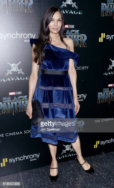 Actress Famke Janssen attends the screening of Marvel Studios' 'Black Panther' hosted by The Cinema Society with Ravage Wines and Synchrony at Museum...