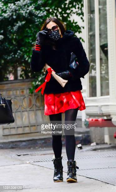Actress Famke Janssen is seen in SoHo on February 15, 2021 in New York City.