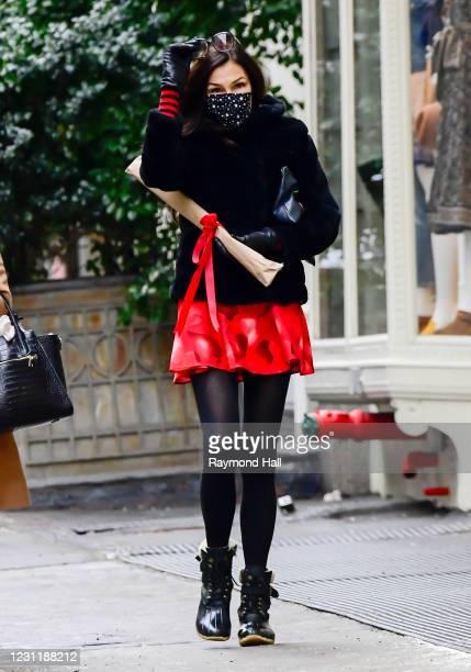 Actress Famke Janssen is seen walking in soho on February 15, 2021 in New York City.