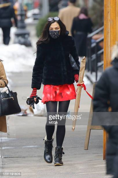 Actress Famke Janssen seen out walking on February 15, 2021 in New York City, New York.