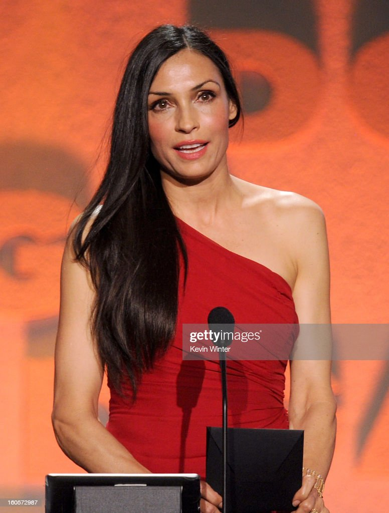 Actress Famke Janssen speaks onstage during the 65th Annual Directors Guild Of America Awards at Ray Dolby Ballroom at Hollywood & Highland on February 2, 2013 in Los Angeles, California.