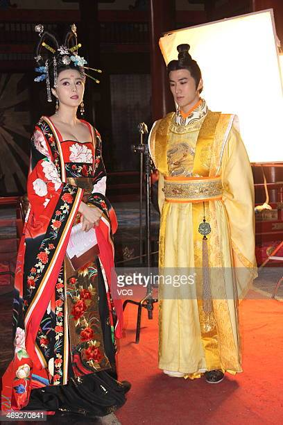 Actress Fan Bingbing and actor Aarif Lee are seen filming television drama series 'Empress Wu Zetian' on February 13 2014 in Wuxi China