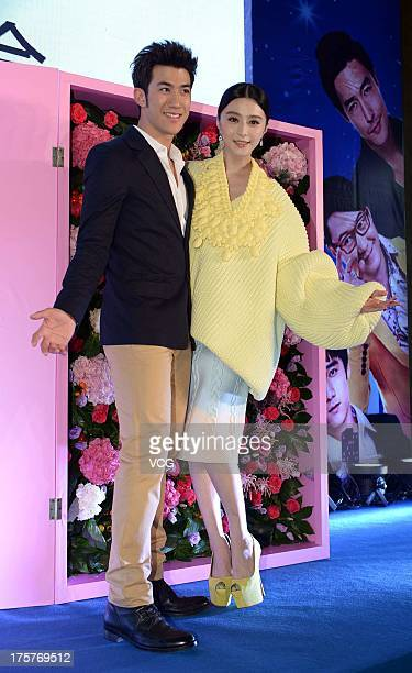 Actress Fan Bingbing and actor Aarif Lee attend 'One Night Surprise' press conference at Shanghai World Financial Center on August 7 2013 in Shanghai...