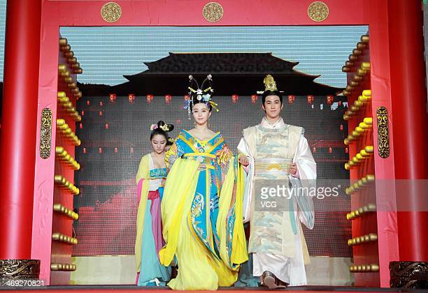 Actress Fan Bingbing and actor Aarif Lee attend television drama series Empress Wu Zetian press conference at Juna Hotel on February 13 2014 in Wuxi...