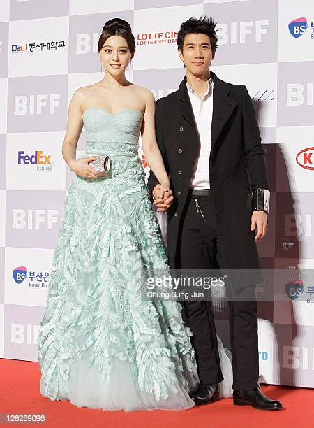 Actress Fan Bingbing and actor Wang Lihong arrive for the opening ceremony of the 16th Busan International Film Festival at the Busan Cinema Center...
