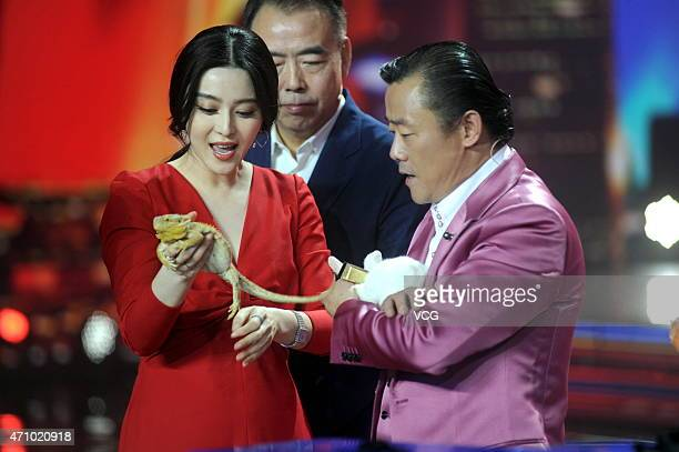 Actress Fan Bingbing and host Zhou Libo attend the Amazing Chinese semifinal recording on April 24 2015 in Shanghai China