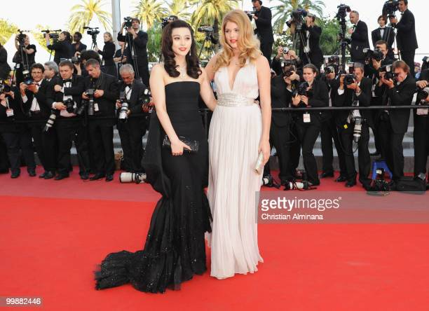 Actress Fan Bingbing and model Doutzen Kroes attend the 'Of Gods and Men' Premiere held at the Palais des Festivals during the 63rd Annual...