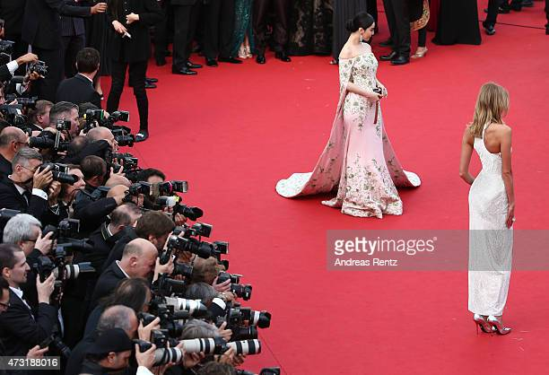 Actress Fan Bingbing and model Karlie Kloss attends the opening ceremony and premiere of La Tete Haute during the 68th annual Cannes Film Festival on...