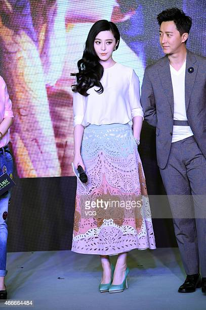 Actress Fan Bingbing and singer of Super Junior Han Geng attend press conference of new film Ever Since We Love directed by Li Yu on March 18 2015 in...