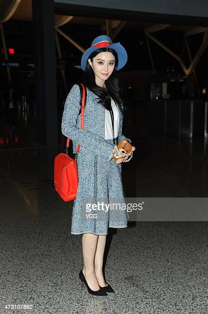Actress Fan Bingbing appears at Shanghai Pudong International Airport on May 12 2015 in Shanghai China