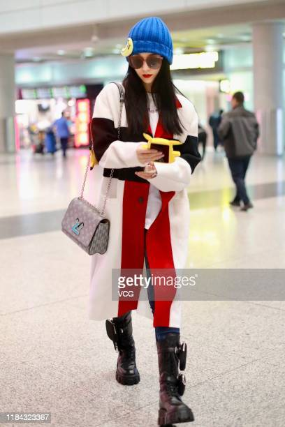 Actress Fan Bingbing arrives at airport on October 30 2019 in Beijing China