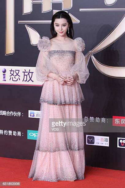 Actress Fan Bingbing arrives at red carpet of 2016 Weibo Awards Ceremony on January 16 2017 in Beijing China