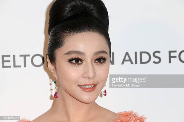 Actress Fan Bingbing arrives at the 21st Annual Elton John AIDS Foundation's Oscar Viewing Party on February 24 2013 in Los Angeles California