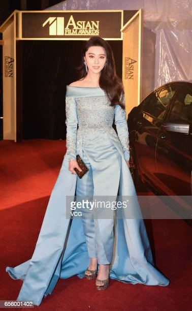 Actress Fan Bingbing arrives at the red carpet of the 11th Asian Film Awards at Hong Kong Cultural Centre on March 21 2017 in Hong Kong China