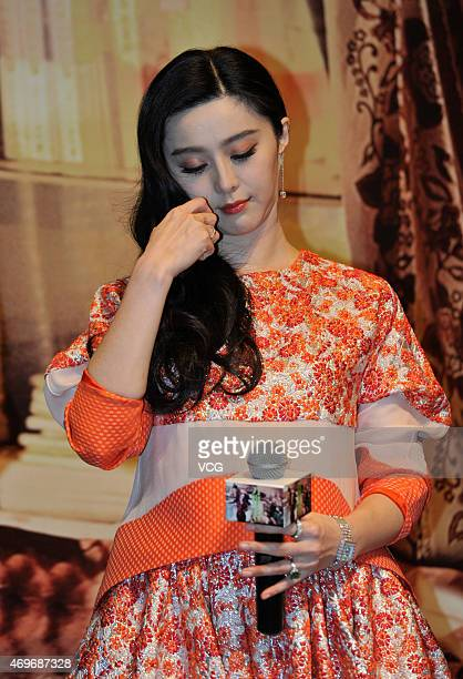 Actress Fan Bingbing attends director Li Yu's new movie Ever Since We Love press conference on Apri 14 2015 in Chengdu Sichuan province of China