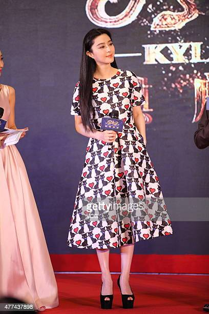 Actress Fan Bingbing attends Kylin Pictures press conference during the 18th Shanghai International Film Festival on June 17 2015 in Shanghai China