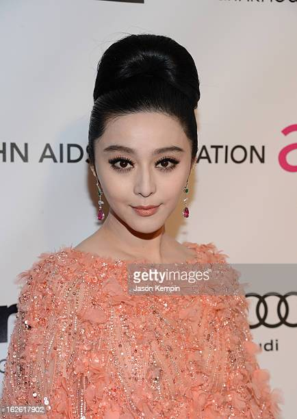 Actress Fan Bingbing attends the 21st Annual Elton John AIDS Foundation Academy Awards Viewing Party at West Hollywood Park on February 24 2013 in...