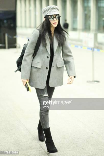 Actress Fan Bingbing is seen at Beijing Capital International Airport on October 9 2019 in Beijing China