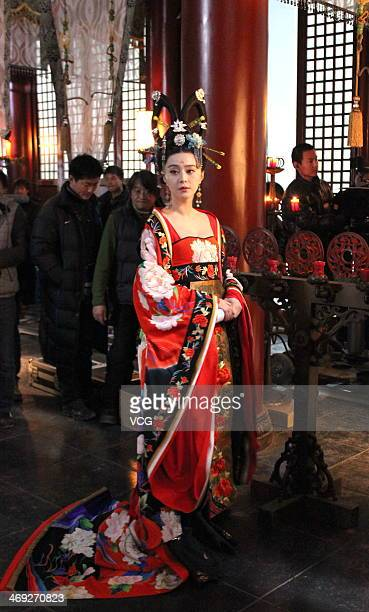 Actress Fan Bingbing is seen filming television drama series Empress Wu Zetian on February 13 2014 in Wuxi China