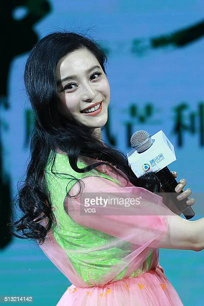 Actress Fan Bingbing promotes her own news channel on a web site on March 1 2016 in Beijing China