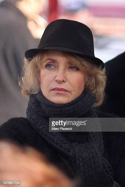 Actress Fanny Cottencon attends the funeral of actor BernardPierre Donnadieu at SaintJean Baptiste church on January 3 2011 in Sceaux France The...