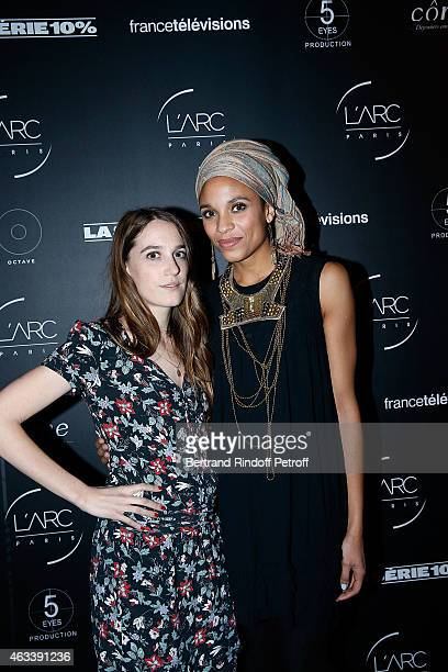 Actress Fanny Sidney and Actress Stefi Celma attend the Party for the end of the shooting of the Serie 10% inspired by Dominique Besnehard on...