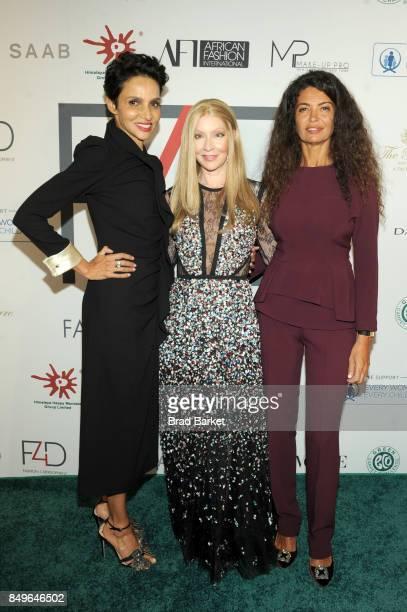 Actress Farida Khelfa Founder of Fashion 4 Development Evie Evangelou and model Afef Jnifen attend Fashion 4 Development's 7th Annual First Ladies...